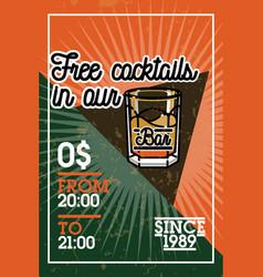 Color vintage bar banner vector