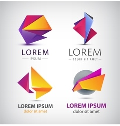 colorful origami icon set Design elements vector image vector image
