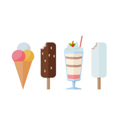 different sweet frozen ice cream collection vector image