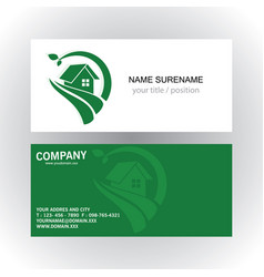 home green nature logo business card vector image vector image
