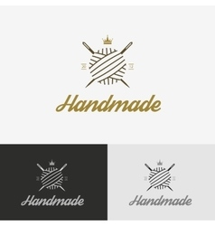 Logo sewing shop with needle vector image