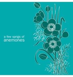 a few sprigs of anemones vector image vector image