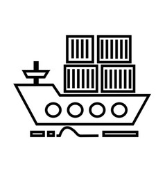 cargo delivery by sea ship line icon sign vector image