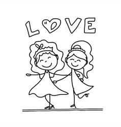 Cartoon happy same sex couple wedding vector