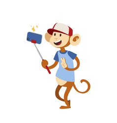 funny picture monkey photographer mamal person vector image vector image