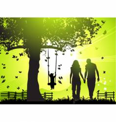 happy family walks at sunset vector image vector image