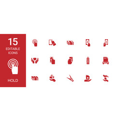 15 hold icons vector image