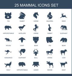 25 mammal icons vector