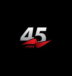45 years anniversary celebration white black red vector