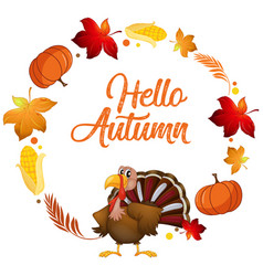 a turkey on autumn card template vector image