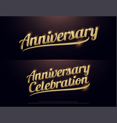 anniversary celebration golden logo calligraphy vector image