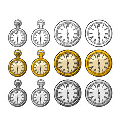 Antique pocket watch and wall clock vector