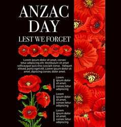 Anzac day poppy flower for lest we forget banner vector