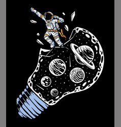 Astronauts fly out bulb universe vector
