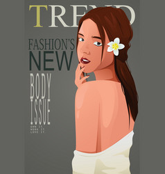 Beautiful girl on a magazine cover vector