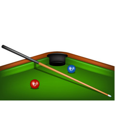 billiard table with billiard cue and billiard ball vector image