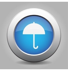 blue metal button with umbrella vector image