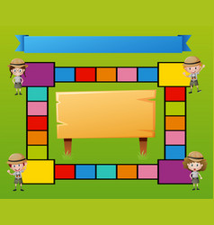 Boardgame template with kids in safari outfit vector