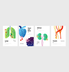 Body organs poster doodle banners set with lungs vector