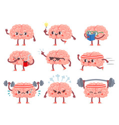 brain characters happy brains in different poses vector image