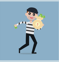 Burglar running away with bag of money vector