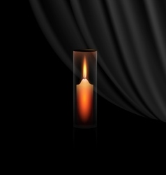 burning candle in the glass vector image vector image