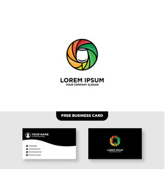 Camera wine logo and business card template vector