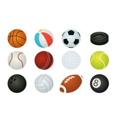 cartoon balls sport inventory spheres vector image