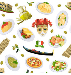 cartoon italian cuisine elements pattern or vector image