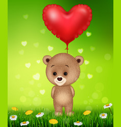 Cartoon little bear holding red shape balloon vector
