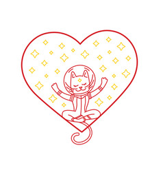 cat with heart and stars vector image