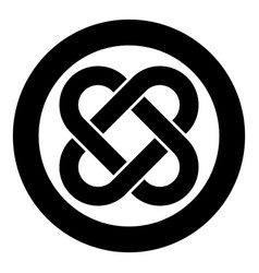 Celtic knot icon in circle round black color flat vector