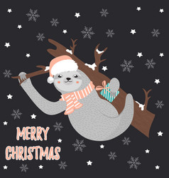 christmas card with sloth wearing holiday hat vector image