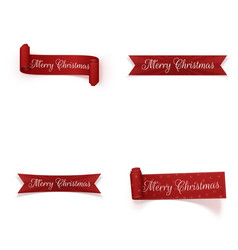 christmas festive red ribbons set vector image