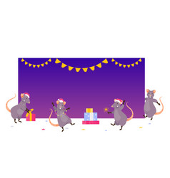 christmas rats at empty banner vector image