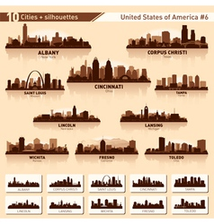 City skyline set 10 city silhouettes of USA 6 vector image