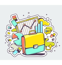 color of briefcase with business graphs on l vector image
