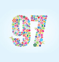 colorful floral 97 number design isolated on vector image