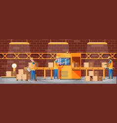 Conveyor belt machine concept in warehouse vector