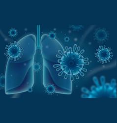 Coronavirus attacks human lungs vector