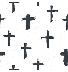 cross symbols seamless pattern grunge hand drawn vector image