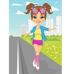 cute girl skating on rollerblades on sidewalk vector image