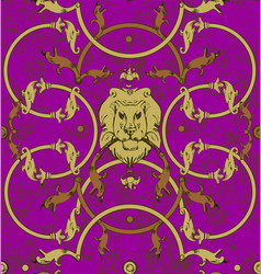 Decorative lattice with a lion in classic style vector
