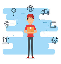 delivery worker with set icons vector image