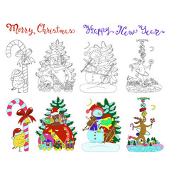 Design set with christmas characters vector