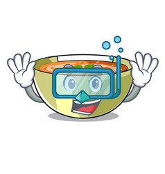 Diving cartoon lentil soup ready to served vector