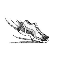 Dotwork running sneaker vector