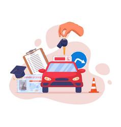Driving school advertising logo or emblem template vector