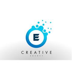 e letter logo blue dots bubble design vector image