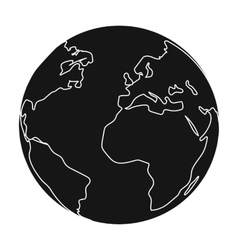 Earth icon in black style isolated on white vector image